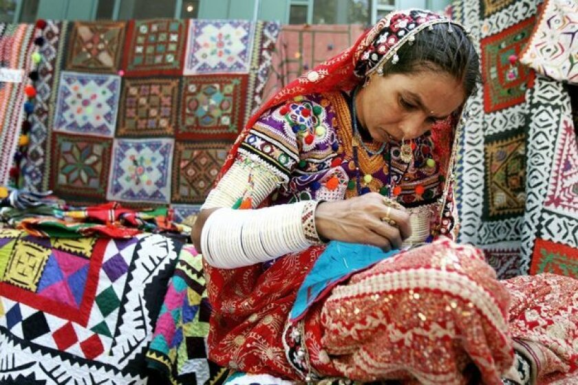 The artist Naina will demonstrate how she makes traditional Pakistani textiles through Sunday at the Pacific Asia Museum in Pasadena. The artist-in-residence event is intended to be part craft demonstration, part cultural exchange.
