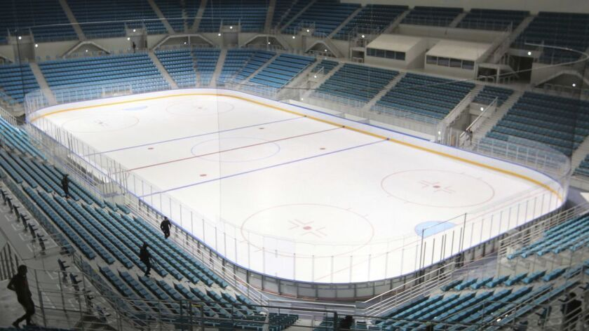 FILE - This Oct. 30, 2017, file photo shows the rink of the Gangneung Hockey Center at Gangneung Oly