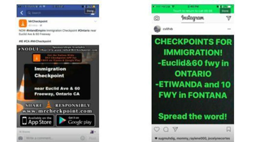 Hoaxes on social media warn of deportation checkpoints.
