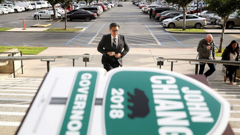 State Treasurer John Chiang arrives to officially file to run for governor of California in Norwalk on March 7.