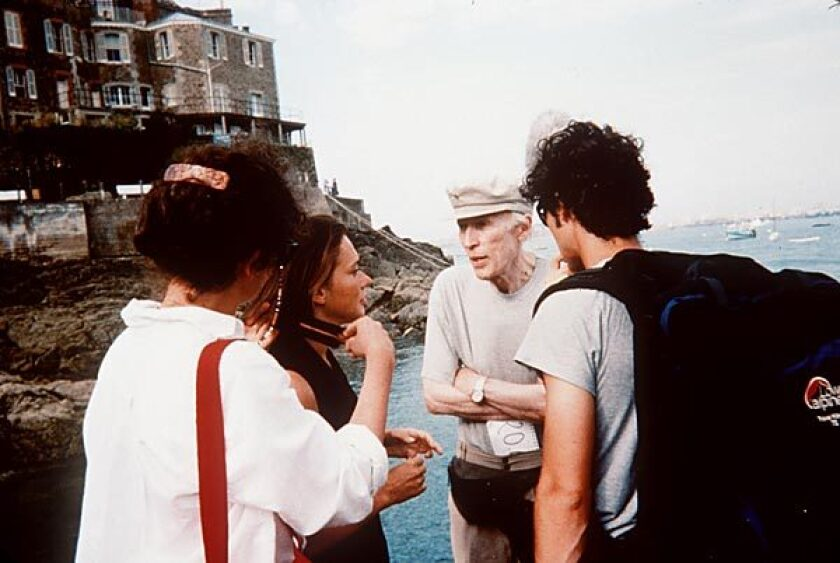 "Rohmer on the set of his 1996 film, ""A Summer's Tale."""