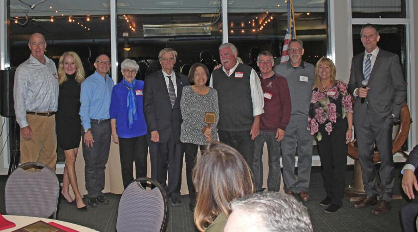 Past PB Town Council presidents: Joe Wilding, Cathie Jolley, Alan Harris, Eve Anderson, Greg Daunoras, Rose Galliher, Karl Jaedtke, Don Mullen, Jim Moore and Ruby Houck with new council president Brian White