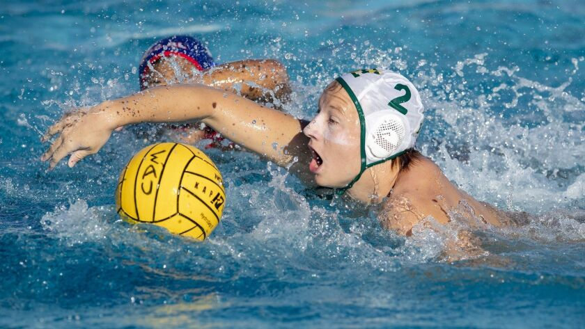 Edison High's Cameron Davidson (2), pictured breaking for the goal against Los Alamitos on Oct. 17, scored five goals in the Chargers' 12-7 win at Palos Verdes Peninsula in the second round of the CIF Southern Section Division 3 playoffs on Thursday.