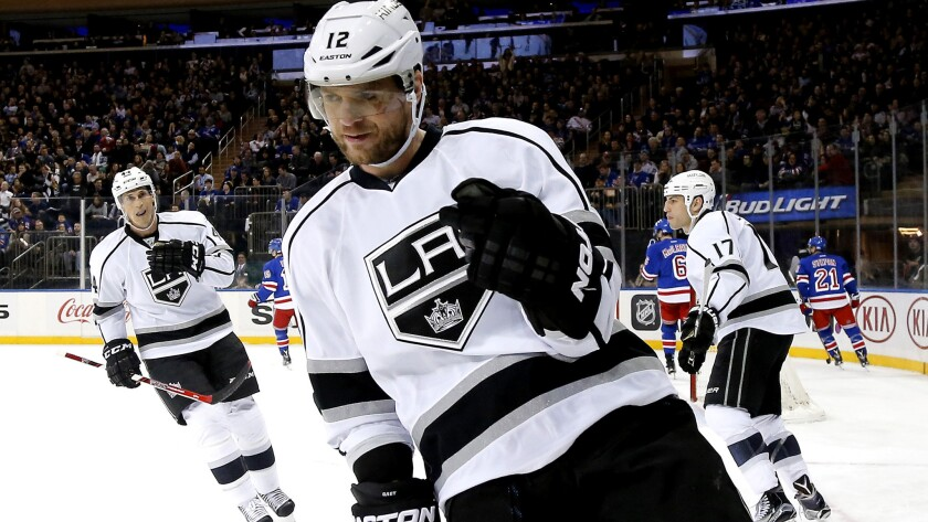 """""""I should be good to go,"""" says Kings right wing Marian Gaborik, shown shortly after scoring a goal against the New York Rangers last season."""