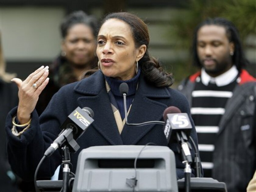 Baltimore mayor Sheila Dixon speaks during a news conference where she announced grants to City Charter Schools, Tuesday, Jan. 13, 2009, in Baltimore. Dixon was indicted Jan. 9, 2009, by a grand jury on 12 counts, including perjury, theft and misconduct in office. If Dixon goes to trial before a Ba