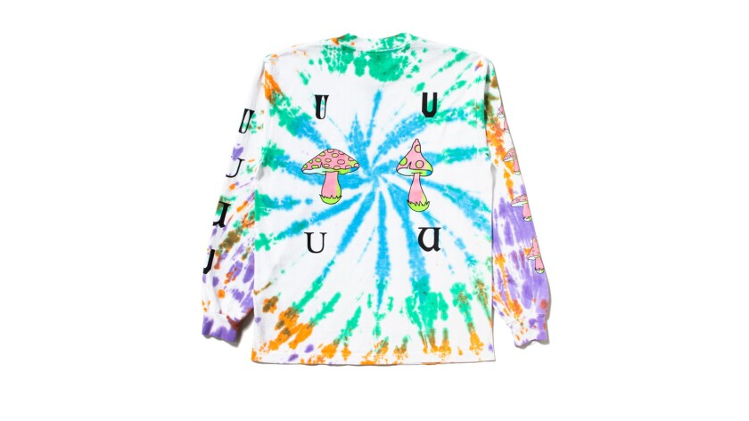 At Union Los Angeles, tie-dye T-shirts feature graphics of a mouth with an acid tab on the tongue, o
