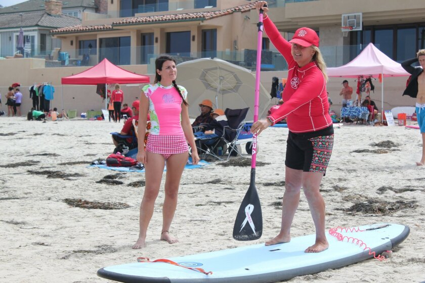 Surf Diva instructor Izzy Tihanyi (right) demonstrates to La Jolla Light reporter María José Dúran how to achieve efficiency on a paddle board, by reaching far to the top of the board when paddling.