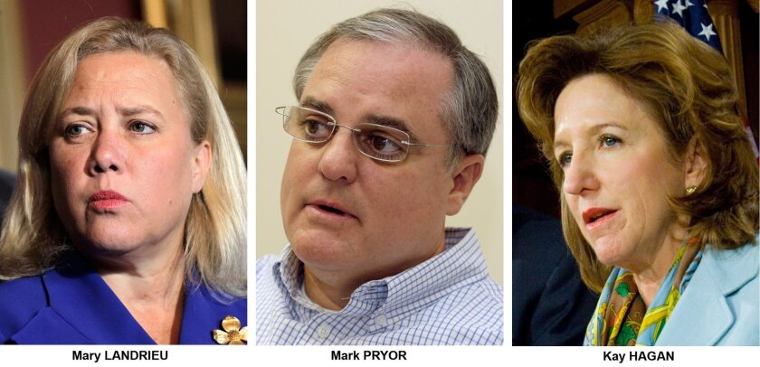 FILE - These file photos show Democrats Senators, from left, Mary Landrieu, D-La., Mark Pryor, D-Ark., and Kay Hagan, D-N.C. Both Republicans and Democrats are looking for fresh ways to pitch old arguments as they head into the final midterm election year of Barack Obama's presidency. That promises
