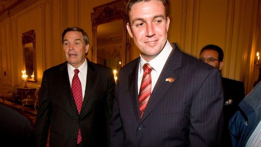 November 4, 2008_San Diego_California_USA_Congressman Duncan Hunter and his father Duncan Hunter wal