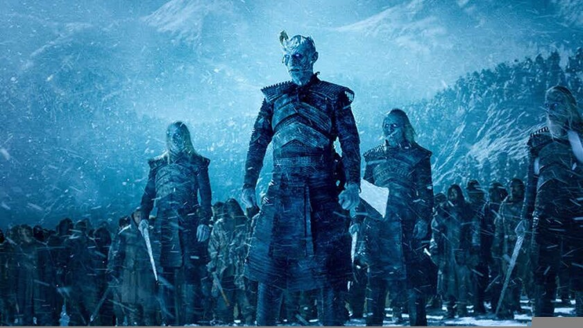 """In the HBO series """"Game of Thrones,"""" the white walkers, an army of the frozen dead, are led by a zombie master known as the Night King."""
