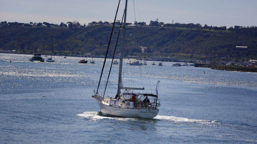 Mitsuhiro Hiro Iwamoto and Doug Smith (right) leave San Diego Bay on test run in their 40-foot sailb