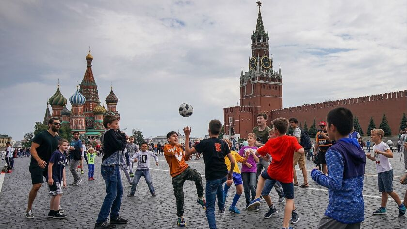 Football Fans arrive in Moscow For The world Cup Semi Finals