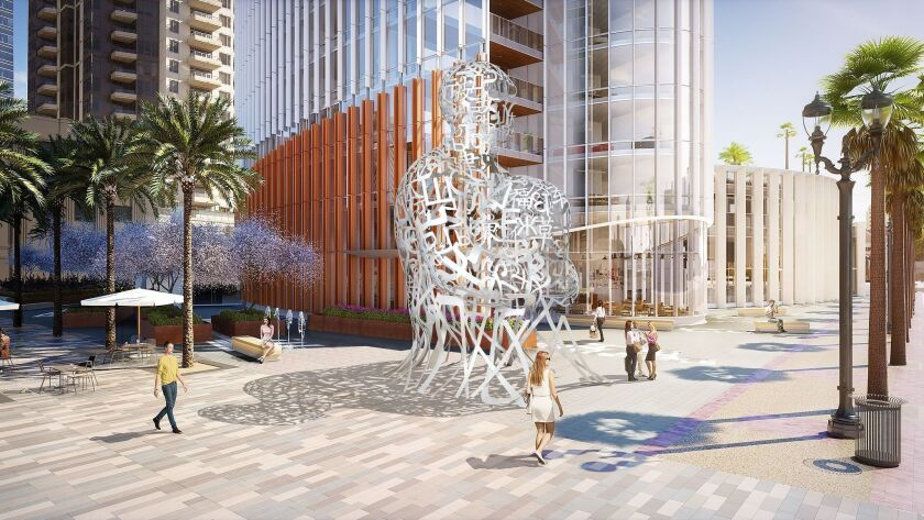 """Spanish artist Jaume Plensa has designed the 26-foot-high """"Pacific Soul"""" sculpture depicting bands of letters and symbols from eight languages. It will be installed at the Pacific Gate condo tower at Pacific Highway and Broadway."""