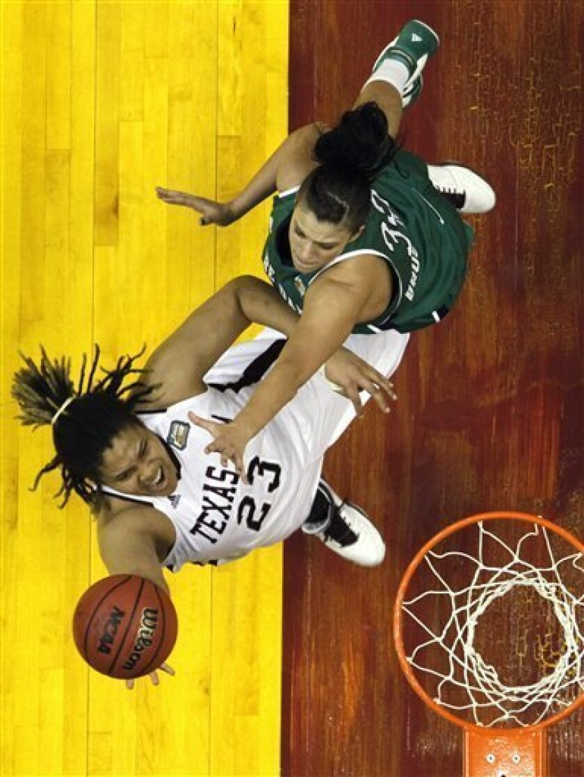 Texas A&M's Danielle Adams (23) lays the ball up while defended by Notre Dame's Becca Bruszewski in the first half of the women's NCAA Final Four college basketball championship game in Indianapolis, Tuesday, April 5, 2011. (AP Photo/Michael Conroy)