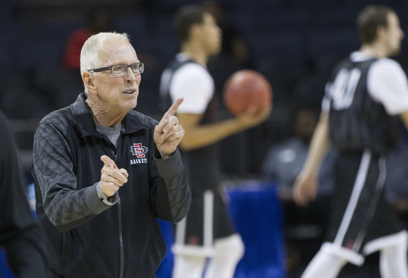 SDSU Mens Basketball Team goes through practice at Time Warner Cable Arena in Charlotte,North Carolina. SDSU Head Coach Steve Fisher directing drills during practice Thursday.