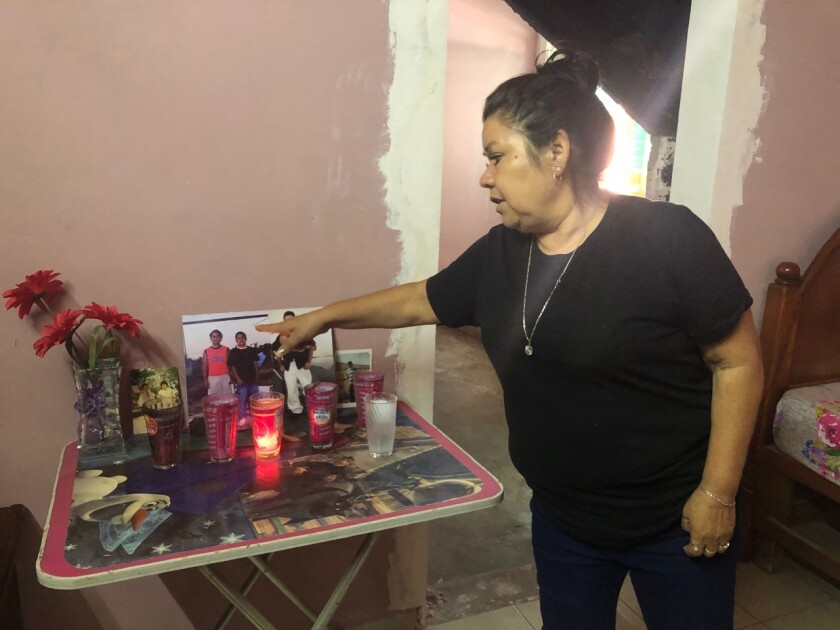 Rosa Alba Santoya Soria in her home in Irapuato.