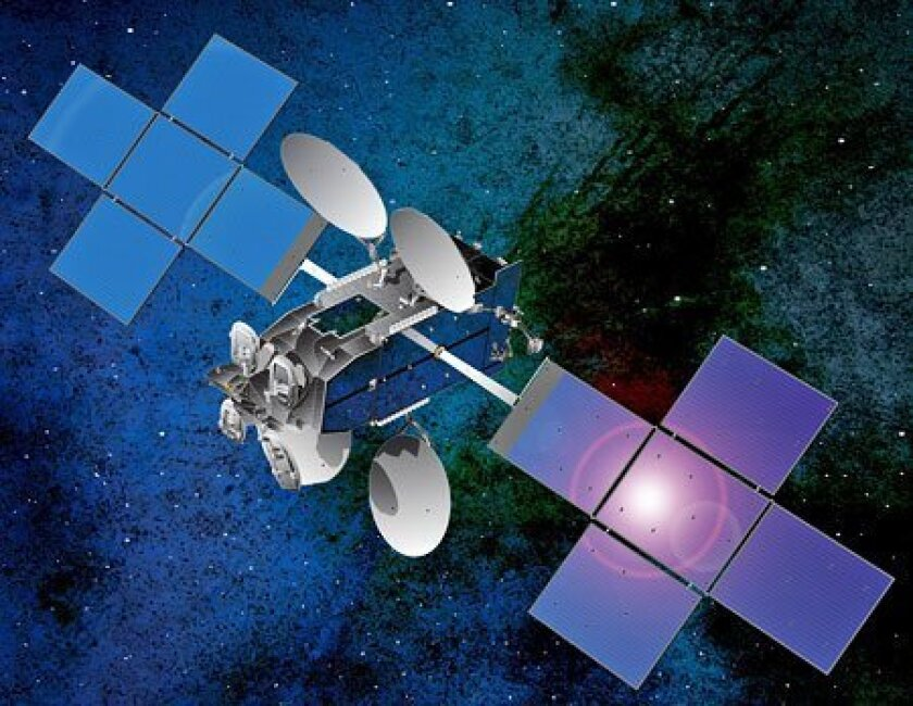 An artist's rendition depicts a $400 million broadband satellite being developed for ViaSat of Carlsbad.(ViaSat)