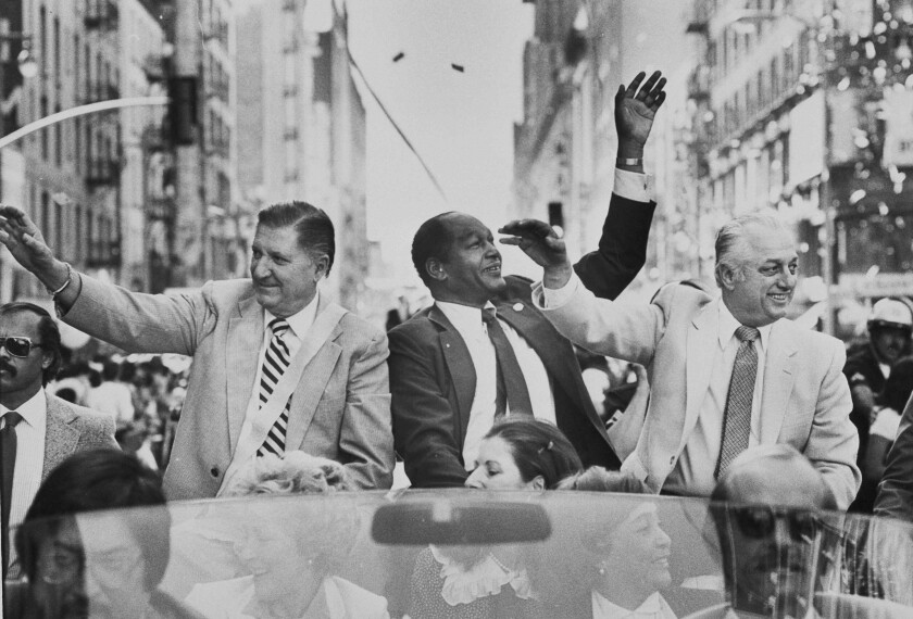 Al Campanis, Dodgers vice president of player personnel, L.A. Mayor Tom Bradley and Tom Lasorda during 1981 parade.