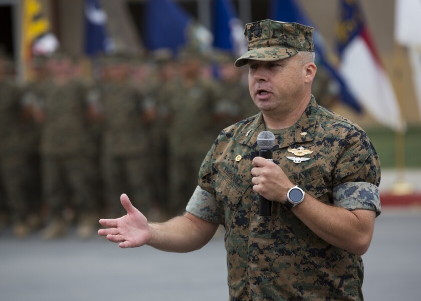 U.S. Navy Capt. Michael O. Enriquez, then-Field Medical Battalion-West commander, upon taking command of the battalion in June 2018.