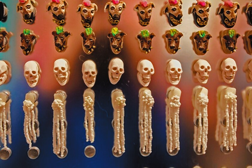 """Some of the 10,000 tiny canvases on display; each skull has moving jaws; as part of """"Tiny Canvases: The Art of Nails"""" exhibit, on display through Feb. 9, 2020 at Oceanside Museum of Art."""