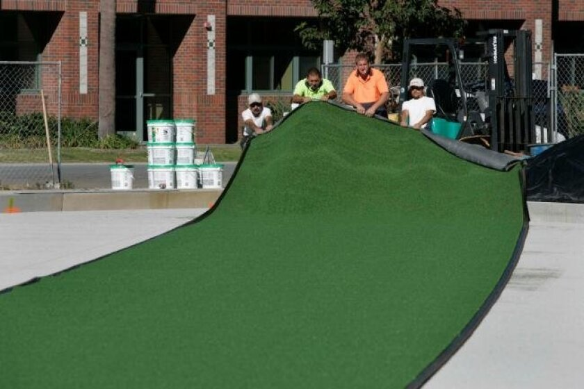 Work is nearing completion on Coronado's rebuilt lawn bowling greens. The project, six years in the making, cost $475,000 but is expected to save money through reduced water and maintenance costs.