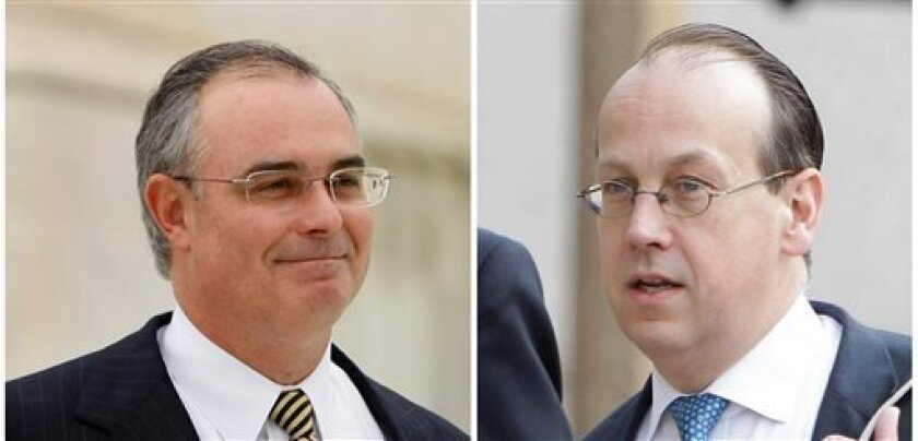 FILE - This combo image shows NFL Players' lawyer David Frederick, left, in a November 2008 file photo, and NFL lawyer Paul Clement in a June 2011 file photo. With perhaps billions of dollars stake, a hearing Tuesday, April 8, 2013 over concussion litigation filed against the NFL promises to be a b