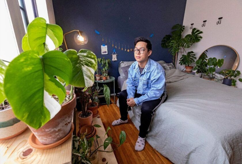 Brandon Jeon shares his bedroom with a variety of plants.
