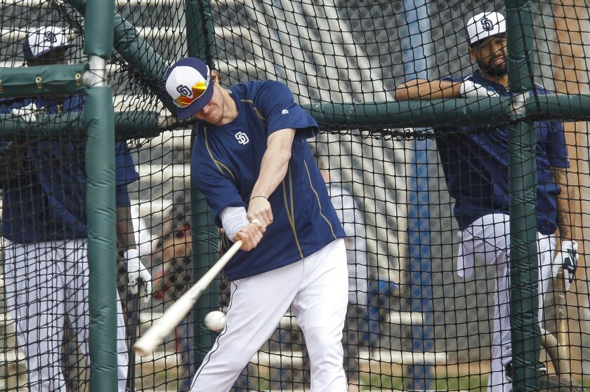The Padres' Wil Myers hits the ball.