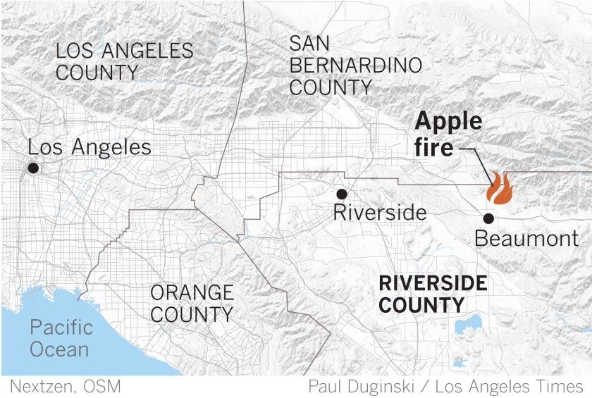 A map shows the site of the Apple fire in northern Riverside County