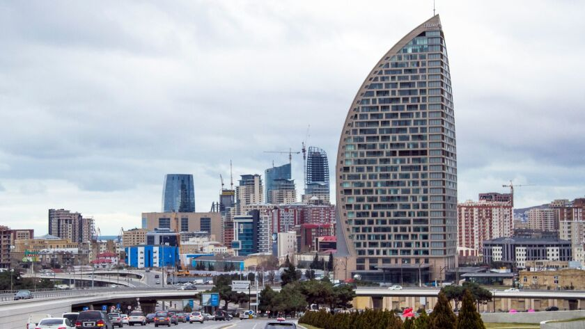 The tower that was supposed to be the Trump International Hotel in Baku, Azerbaijan, is seen on Feb. 19, 2016. The Trump Organization closed down its deal with its Azerbaijani partners this month.