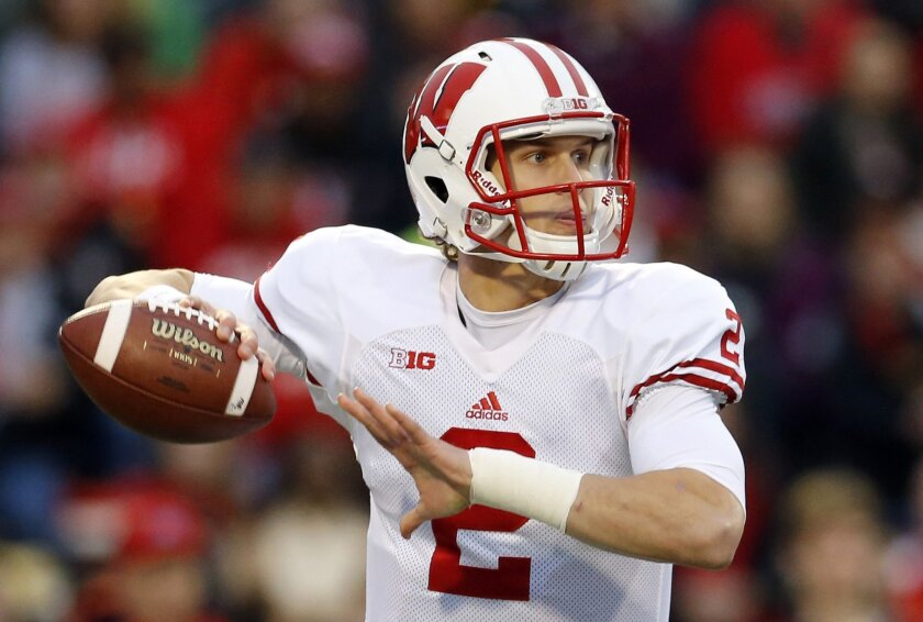 FILE - In this Saturday, Nov. 7, 2015 file photo, Wisconsin quarterback Joel Stave throws to a receiver during an NCAA college football game against Maryland in College Park, Md. Paul Bunyan's Axe is on the line and bowl eligibility for the Gophers _ and both quarterbacks are dealing with injuries. Wisconsin's Joel Stave took a hit that left him woozy at the end of the Northwestern game, leaving him iffy for the rivalry game.(AP Photo/Patrick Semansky, File)