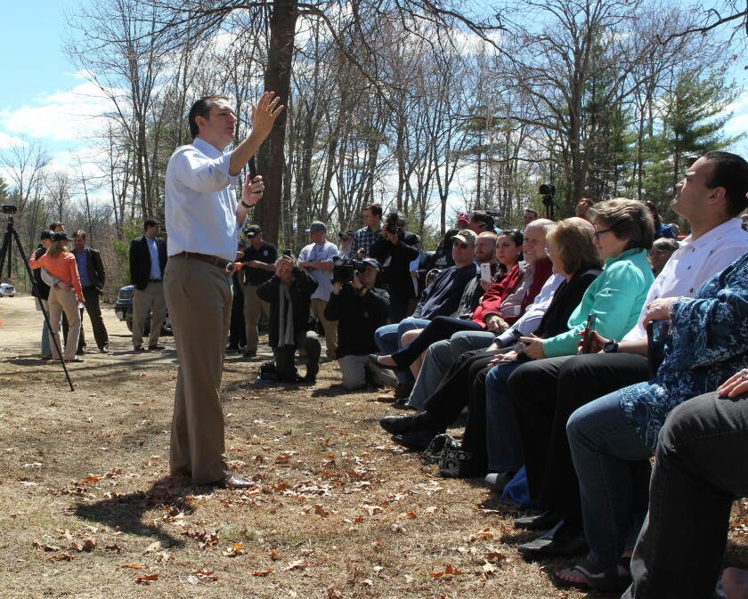Republican Sen. Ted Cruz of Texas speaks to potential supporters in Litchfield, N.H., on April 19. In an open letter Wednesday, party activists in New Hampshire and others called on the GOP to preserve the state's importance in the presidential primary process.