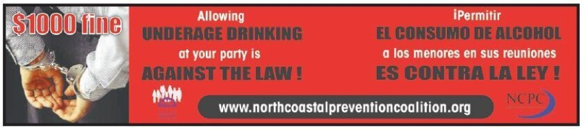 Ads on buses say allowing underage drinking can result in a fine.