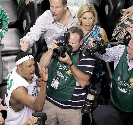 "Celtics forward Paul Pierce, who finished with a team-high 27 points, declares to fans ""one more win"" for an NBA title after Boston defeated the Lakers, 92-86, in Game 5 on Sunday to take a 3-2 lead in the best-of-seven NBA Finals."