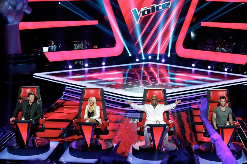 """The Voice"" judges Blake Shelton, Christina Aguilera, Cee Lo Green and Adam Levine."