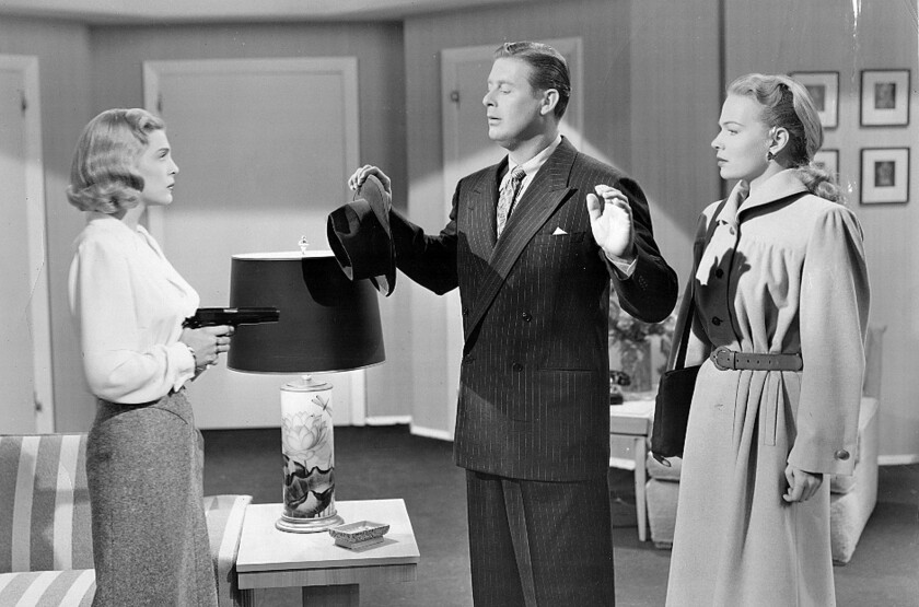 """Lizabeth Scott, Don DeFore and Kristine Miller in a scene from """"Too Late for Tears."""""""