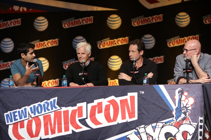 "Kumail Nanjiani moderated the New York Comic-Con ""X-Files"" panel, which included ""X-Files"" creator and executive producer Chris Carter and cast members David Duchovny and Mitch Pileggi."