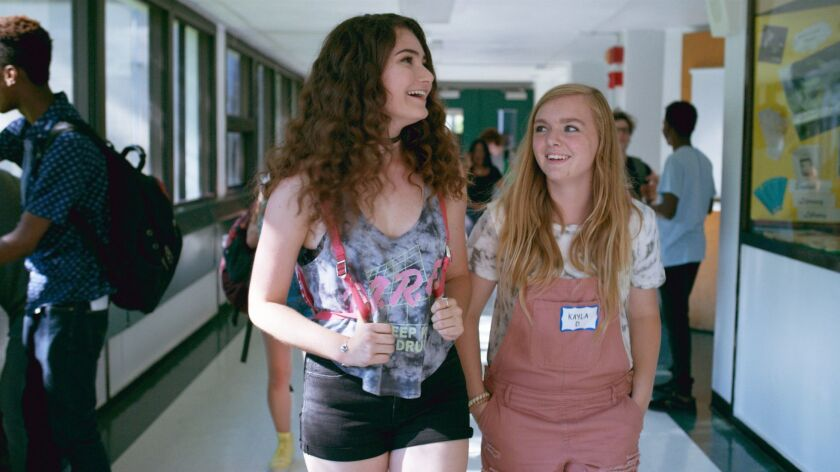 """Elsie Fisher and Emily Robinson in a scene from """"Eighth Grade."""" Credit: A24"""