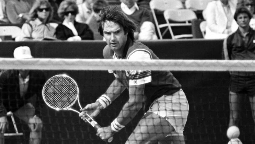 Tennis pro Jimmy Connors gets ready to return a shot during the 1983 Alan King Tennis Classic at Caesars. Connors went on to win the tournament for the fourth time.