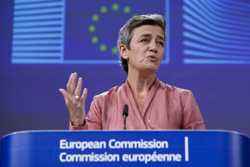European Commissioner Executive Vice-President Margrethe Vestager talks during a video press conference at the EU headquarters in Brussels, Wednesday, June 17, 2020. (Kenzo Tribouillard, Pool Photo via AP)