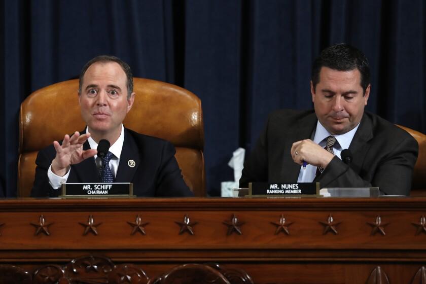 Reps. Adam B. Schiff (D-Burbank), left, and Devin Nunes (R-Tulare) during the Trump impeachment hearings.
