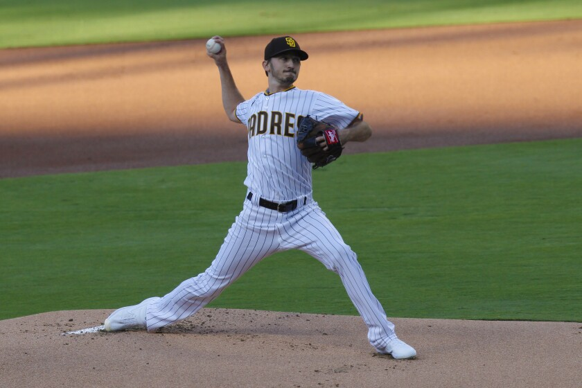 Padres starting pitcher Zach Davies delivers against the Diamondbacks on Friday.