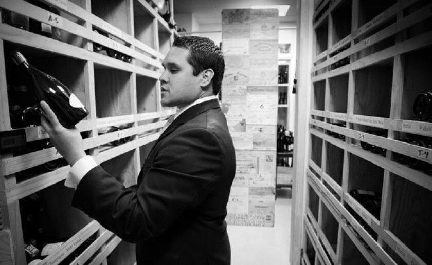 Addison's wine director, Jesse Rodriguez, maintains an inventory of 36,000 bottles.