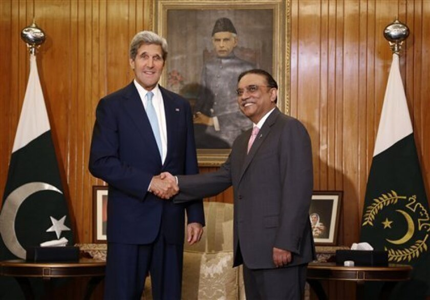 """Secretary of State John Kerry meets with Pakistan's President Asif Ali Zardari in Islamabad, Pakistan, Thursday, Aug. 1, 2013. Kerry said the resumption of security talks will cover """"all of the key issues between us, from border management to counterterrorism to promoting U.S. private investment and to Pakistan's own journey to economic revitalization."""" (AP Photo/Jason Reed, Pool)"""