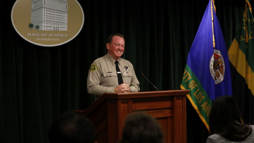 LOS ANGELES, CA November 27, 2018: Sheriff Jim McDonnell holds a news conference to discuss and re