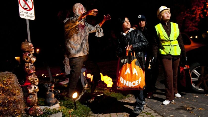Children go trick-or-treating at night. Data from the U.S. government show that pedestrians are far more likely to be killed on Halloween than on comparable days before or after.
