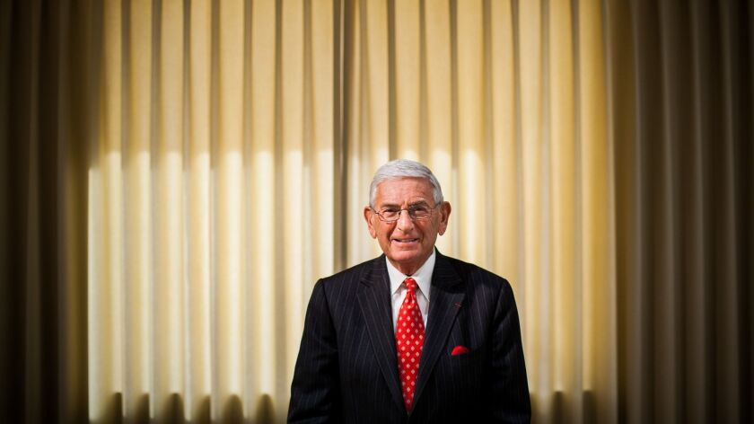 Philanthropist Eli Broad, pictured in 2009, says his actions on two pivotal elections affecting L.A. schools are consistent.