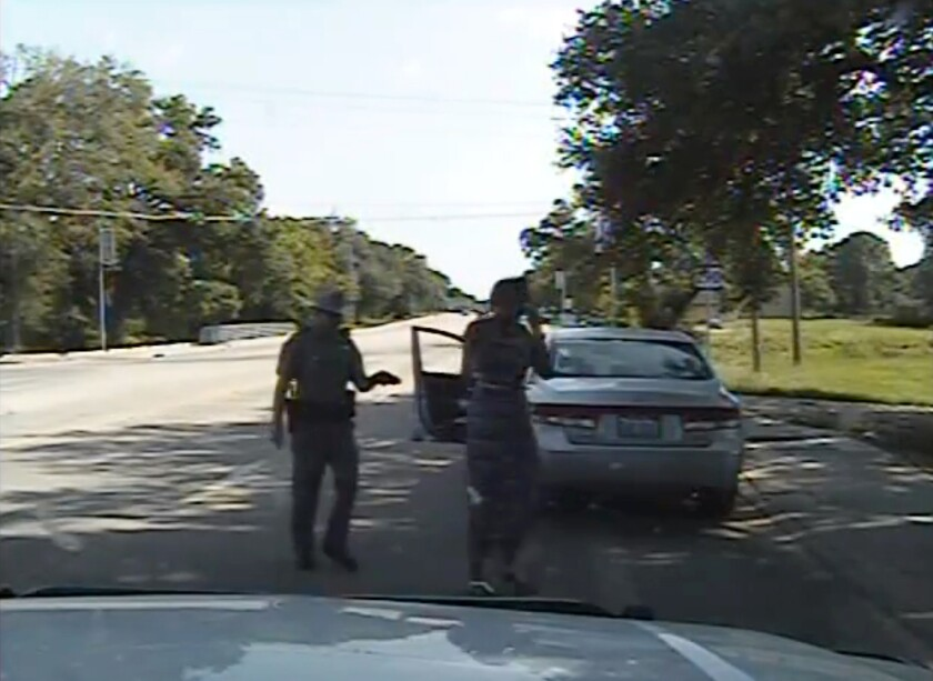 A still frame from a dashcam video provided by the Texas Department of Public Safety shows trooper Brian Encinia arresting Sandra Bland after a traffic stop on July 10 in Waller County, Texas.