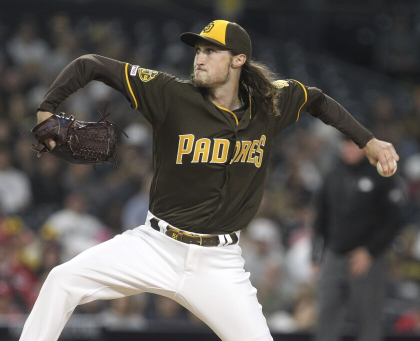 Matt Strahm allowed two hits in eight innings against the Reds last week.