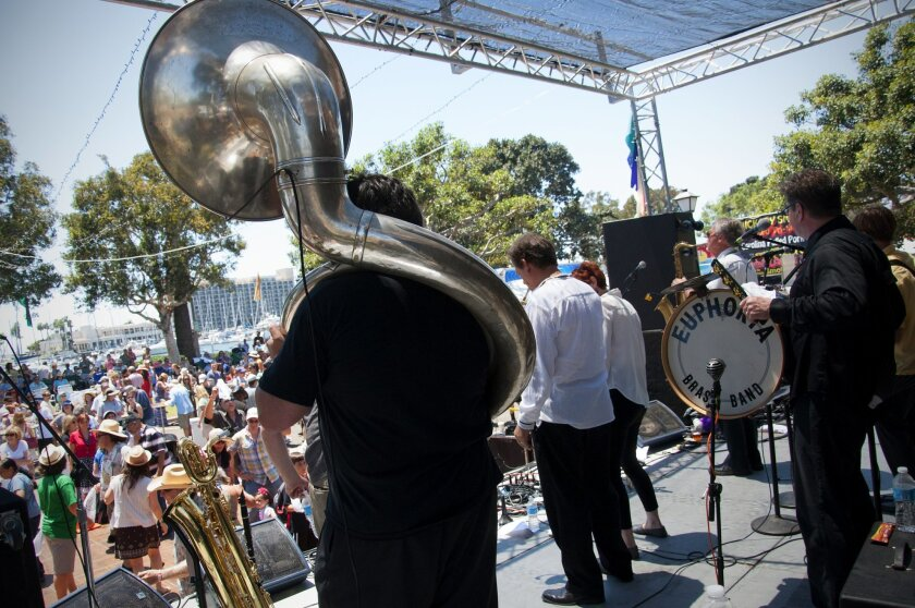San Diego's Euphoria Brass Band, shown above at the 2012 Gator by the Bay, return for this weekend's 15th annual edition of the Louisiana-styled music and food festival at Spanish Landing Park.